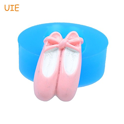 1 piece FYL268U 22.5mm Ballet Shoes Silicone Mold - Fondant Cake Topper Chocolate Icing Cookie Biscuit Resin Gum Paste Food Safe