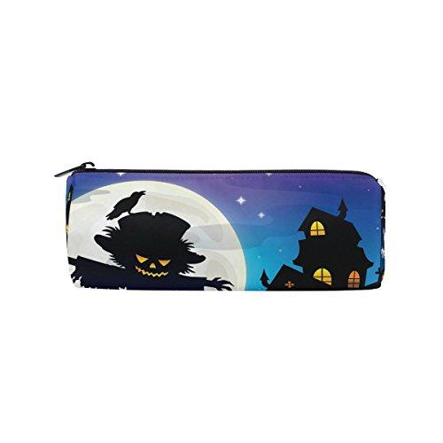WOZO Halloween Scarecrow Castle Moon Pen Pencil Case Makeup Cosmetic Pouch Case Travel Bag -