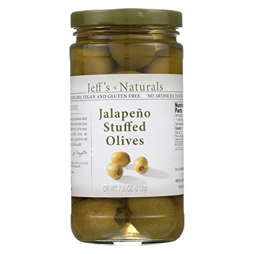 (Jeff's Natural Jeff's Natural Jalapeno Stuffed Olives - Vegan - Non GMO - Case of 6 - 7.5 Ounce)