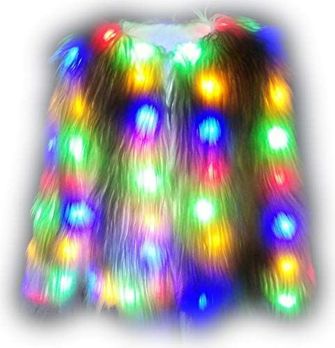 i-KindPec Soft Faux Fur Led Jacket Light up Winter Coat for Halloween Xmas Party Costume Plus Size 6XL (White, Medium)]()