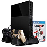 Zacro PS4 Slim/ PS4 pro/ PS4 Vertical Stand Cooling Fan, Dual Controller Charging Dock Station, Multifuctional Stand with Cooling and Charging System for Playstation 4/ PS4 Slim/ PS4 Pro Series