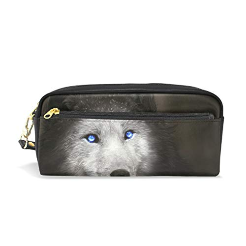 (Blue Eyes Wlof Leather Student Pencil Case Cosmetic Pen Bag Makeup Pouch for Teen)
