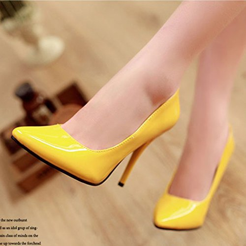 Aisun Womens Pointy Toe Low Cut Dress Sexy Slip On High Stiletto Heels Party Wedding Pumps Shoes Yellow XpELE1F
