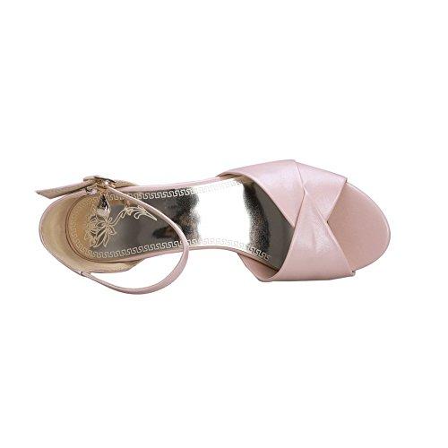 Balamasa Donna Con Borchie Tempestate Di Fibbie In Metallo Sandali In Pelle Scamosciata A Punta Imitata Rosa