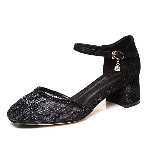 32b1d845 HY Summer Baotou Ms. sandalias de pedrería con los tacones cuadrados negros  de las mujeres