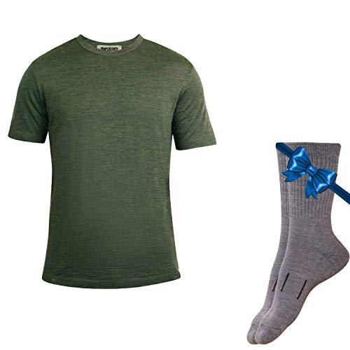 - Merino.tech 100% NZ Organic Merino Wool Lightweight Men's T-Shirt + Merino Wool Hiking Socks Bundle | Short Sleeve Crew Tee | Moisture Wicking | No Odor | UPF 25 (Large, Olive)