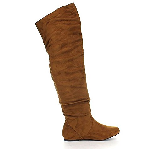 Nature Breeze Women's Vickie Hi Slouchy Over The Knee Boots, Camel Suede, 6.5 ()