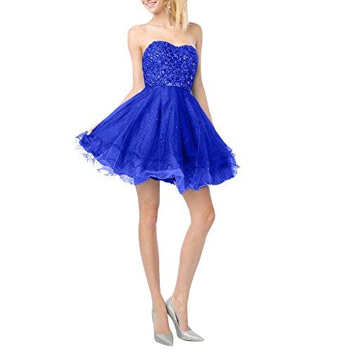 Spitze Promkleider Charmant Traegerlos Damen Linie Cocktailkleider Neu Attraktive Royal Blau Mini Partykleider Steine A HwYtqrYx
