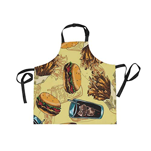 DOPKEEP Burger Fries Soda Ice Bib Apron Adjustable Size Kitchen Apron with Pockets and Extra Long Ties for Women and Men Home Chefs Cooking Gardening - Apron Shop Soda