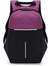 ZHANGYOUDE Multi-Function Oxford Portable Casual Double Shoulders School Bag Travel Backpackage Bag with USB Charging (Color : Purple)
