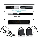 Lusana Studio 10 feet Wide Backdrop Support Stand Cross Bar Kit with Spring Clamp and Counter Weight Sand Bag for Stablizing Structure, Photo Video Studio Setting, LNA1018