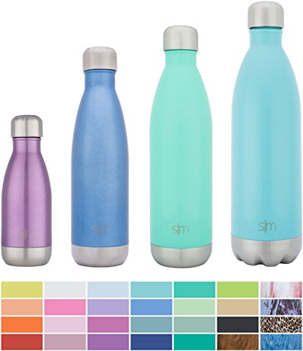Simple Modern Stainless Steel Vacuum Insulated Double-Walled Wave Bottle, 17oz - Glacier Blue - Shimmering Collection