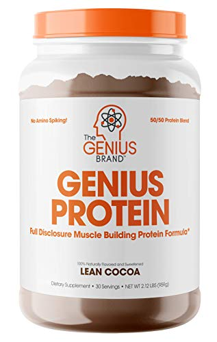 Genius Protein Powder - Natural Whey Protein Isolate & Micellar Casein Lean Muscle Building Blend, Grass Fed Post Workout Strength Builder for Weight Loss and Strength Gains, Lean Cocoa, 2 LB