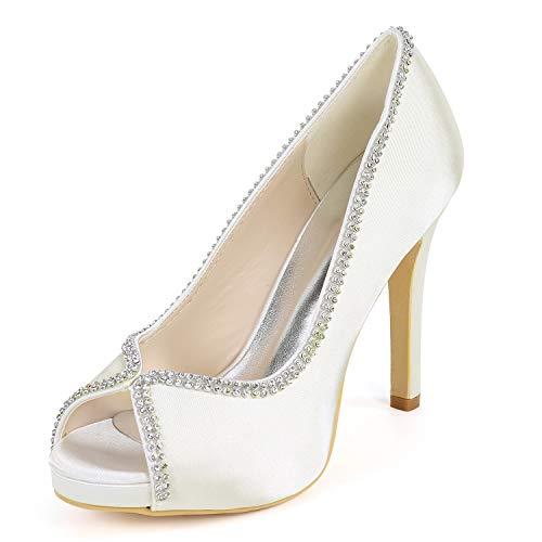Diamantes Tacones De Corte Con Zapatos Mujer Satén yc Nupcial L Peep Ivory Tacón Cm Imitación Alto Toe 11 w0aRx