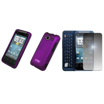 EMPIRE Purple Rubberized Hard Case Cover + Mirror Screen Protector for Sprint HTC EVO Shift 4G