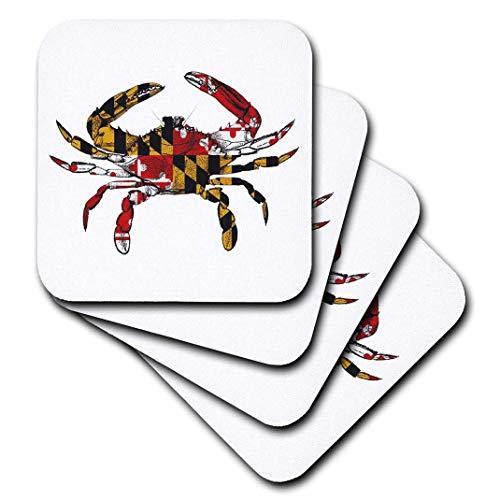 3dRose cst_193242_3 Maryland Crab Flag-Ceramic Tile Coasters, Set of ()