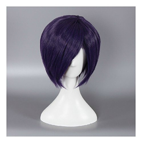 Short Purple Synthetic Hair Anime Cosplay Wigs Synthetic Hair