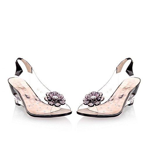 Hauts Pompes Fleur Transparent Chaussures De Noir Sandales Fête Mariage De Talons Femmes Talons Slingback 5xwq47npZ