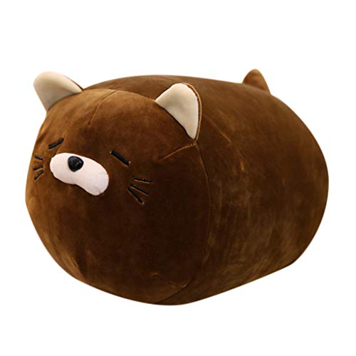 Vovomay Plush Toy-Anime Kitten Inu Plush Stuffed Soft Pillow Doll Cartoon Cute Kitten Soft Toy (Brown)