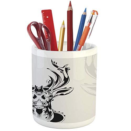 (Pencil Pen Holder,Antlers Decor,Printed Ceramic Pencil Pen Holder for Desk Office Accessory,Tribal Deer Head Shadow Art Emblem Wilderness Ornamental Monochrome Artwork)