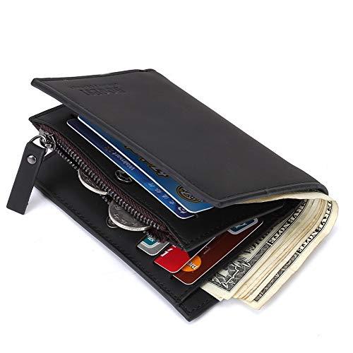 Men Wallet - Stylish Genuine Leather Elite RFID Blocking Slim ID & Card Holder Money Clip Bifold Fashion Travel Purse - With Gift Box