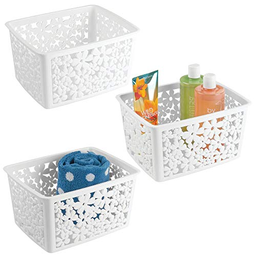mDesign Plastic Bathroom Storage Basket Bin for Organizing Hand Soaps, Body Wash, Shampoos, Lotion, Conditioners, Hand Towels, Hair Accessories, Body Spray - Large, Floral Design, 3 Pack - White (Storage For Baskets Bathroom)