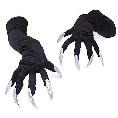 Star-Shopinc - New Arrival Hot Sale 1 Pair Black Halloween Costume Gloves Attached Long Fingernails Best -