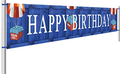 Colormoon Gaming Happy Birthday Banner |Game Birthday Party Supplies | Boys Game Birthday Party Favors | Birthday Party Photo Prop Backdrop Background Tablecloth (9.8X 1.5 feet)