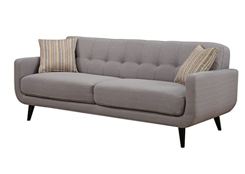 AC Pacific Crystal Collection Upholstered Gray Mid-Century Tufted Sofa with 2 Accent Pillows, Gray (Mid Century Sectional Sofa)