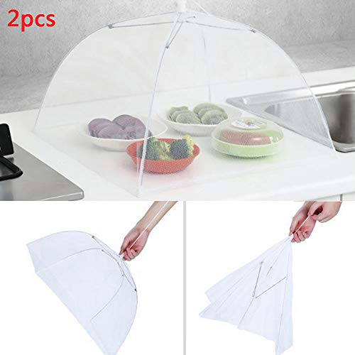 2PCS Food Cover Tent Large Pop-Up Mesh Screen Protector Collapsible Dome Net Food Umbrella for Home Outdoor Picnic (White) by Codiak-Kitchen (Image #3)