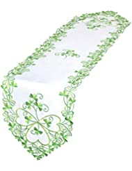 Simhomsen Irish Clover Table Runners, Embroidered Shamrock Table Linen For  St. Patricku0027s Day And