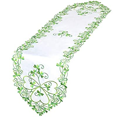 Simhomsen Irish Clover Table Runners, Embroidered Shamrock Table Linen for St. Patrick's Day and Spring 13 × 54 Inch - Embroidered adorable shamrock Light green and green colors on light cream background polyester Absolutely elegant embroidery and stitching work - table-runners, kitchen-dining-room-table-linens, kitchen-dining-room - 41W48HEqmUL. SS400  -