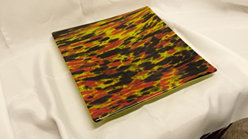 Hand Crafted Lime Green, Red and Black Fused Glass Platter - 12
