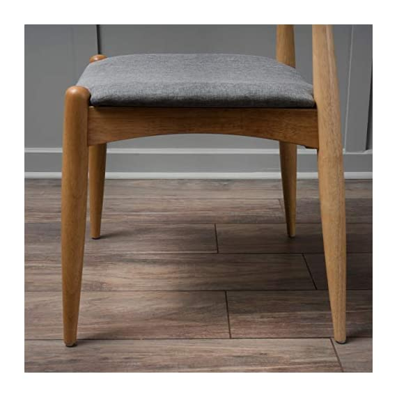 """Christopher Knight Home Francie Fabric with Oak Finish Dining Chairs, 2-Pcs Set, Grey / Oak - """"Includes: Two (2) Dining Chairs Material: Fabric  Composition: 100% Polyester Leg Material: Rubber wood Color: Grey Leg Finish: Oak Some Assembly Required Dimensions: 21.25 inches deep x 21.45 inches wide x 29.52 inches high Seat Width: 18.25 inches Seat Depth: 18.00 inches Seat Height: 17.75 inches"""" - kitchen-dining-room-furniture, kitchen-dining-room, kitchen-dining-room-chairs - 41W48Mu b1L. SS570  -"""