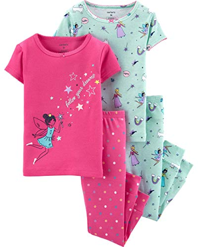 Carter's Toddler and Baby Girls' 4 Piece Cotton Pajama Set, Fairy, 3T