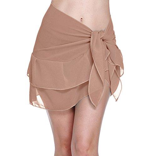 ChinFun Women's Beach Cover Up Short Sarong Dress Pareo Multi Wear Ruffle Swim Skirts Bathing Suit Bikini Chic Mini Sexy Swimsuit Wrap Swimwear Chiffon Shawl Khaki