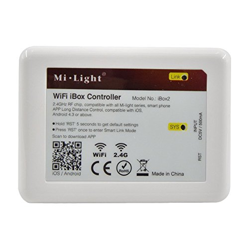 Mi Light WiFi Bridge Box Controller iBox2 Newest Version Wireless Dimmer for Mi Light Series RGBW WW/CW RGB+CCT Led Bulb Downlight Strip Light Compatible with iOS iPhone Ipad & Android System(iBox2)