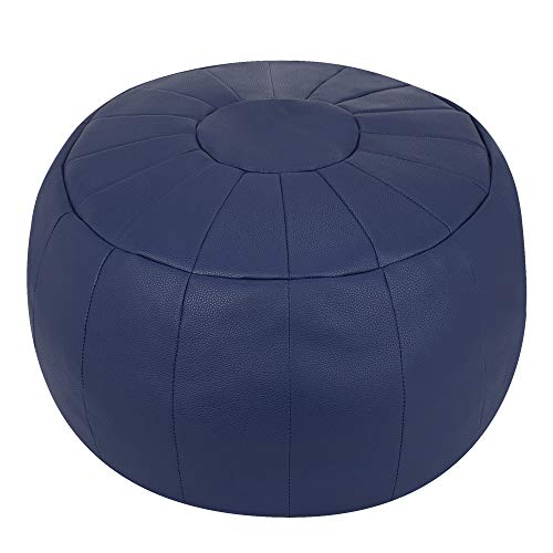 Rotot Decorative Pouf, Ottoman, Bean Bag Chair, Footstool, Foot Rest, Storage Solution or Wedding Gifts (Unstuffed) (Navy Blue) ()