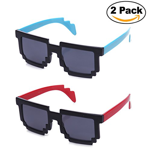 Newbee Fashion Kyra 8-Bit Retro 80's Video Game Colored Templed Party - Game Sunglasses Video