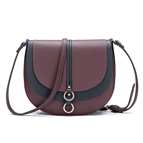 Women Crossbody Bag Saddle Shoulder Bag Small Purse Brown Hasp Satchel and Tote PU Leather by AFKOMST