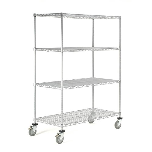 Nexel C2448PZB Wire Shelf Stem Caster Trucks with Brakes and 5'' Polyurethane Wheel, 48'' Length x 24'' Width x 63'' Height, Poly-Z-Brite Finish, Clear Epoxy by Nexel