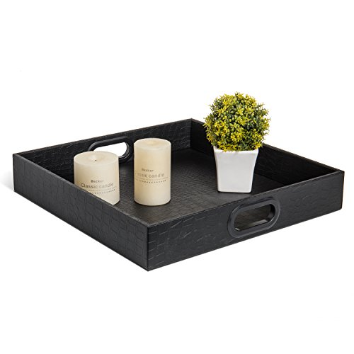 Black Faux Leather Crocodile Textured Square Serving Tray with Cutout Handles Leather Crocodile Coffee Table