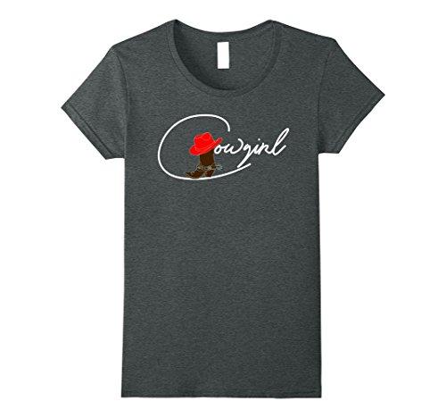 Womens Cowgirl Western Wear T Shirt Gift Idea Small Dark Heather (Cowgirl Dark T-shirt)