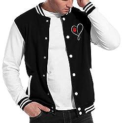 Cat Dog Paw Prints Heart Mens Fashion Baseball Uniform Jacket Sport Coat Black