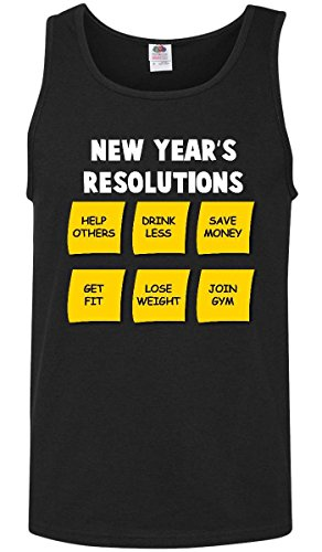 Inktastic new year's resolutions sticky notes white text Tank Top X-Large Black