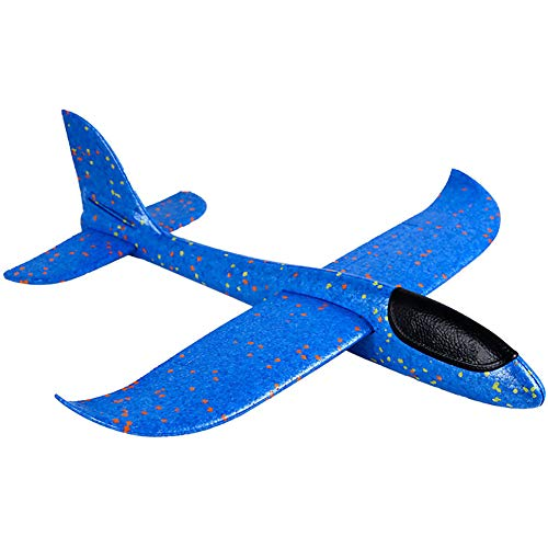 Throwing Foam Airplane Blue, 2 Flight Mode Hand Launch Glider Plane Inertia Aircraft (Big 19 inch) Blue Kids Ourdoor Sports Toy Gift ()