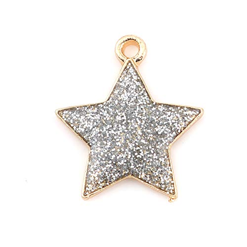 (PEPPERLONELY 10pc Plated Gold Alloy Galaxy Charms Pentagram Star Silver Glitter Enamel Charms Pendants 20x17mm (6/8