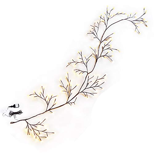 Strong Camel Lighted Willow Vine Branches,Climbing Decorative Vine with 144 Lights Garden Wall Decoration, Indoor Outdoor String Lights Warm White (8FT) ()