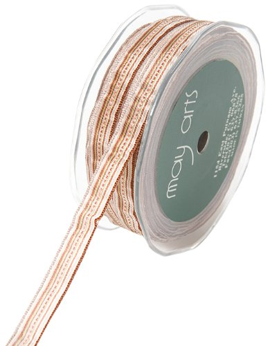 May Arts 3/8-Inch Wide Ribbon, Brown and Ivory Stripes ()