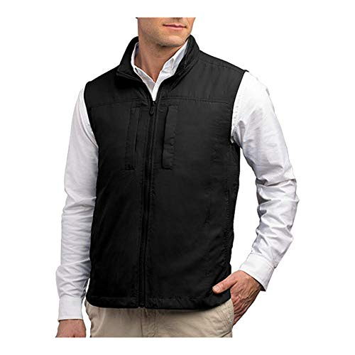 SCOTTeVEST Featherweight Men - Lightweight Vest - Travel - Utility - Safari Vest (BLK L)